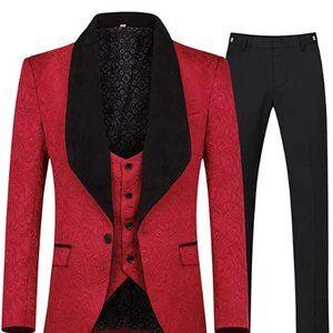 Other - Men's 3 Piece Suit Slim Fit Jacquard Tuxedo One